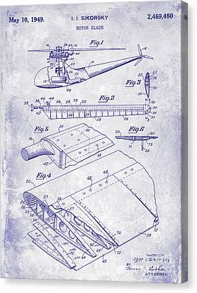 1949 Helicopter Patent Blueprint Canvas Print by Jon Neidert