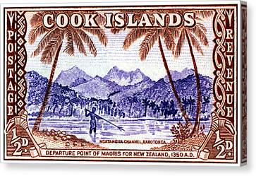 Canvas Print featuring the painting 1949 Native Fishing, Cook Islands by Historic Image