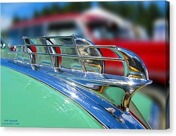1949 Plymouth Hood Ornament Canvas Print by Larry Keahey