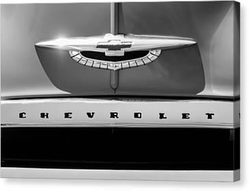 1950 Chevrolet Fleetline Grille Emblem -1431bw Canvas Print