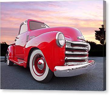 1950 Chevy Pick Up At Sunset Canvas Print by Gill Billington