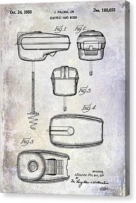1950 Electric Hand Mixer Patent Canvas Print