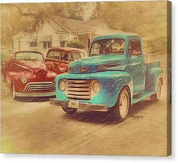 1950 Ford Truck Classic Cars - Homecoming Canvas Print by Rebecca Korpita