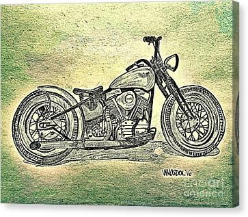 1950 Harley Davidson Panhead Motorcycle - Abstract Canvas Print by Scott D Van Osdol