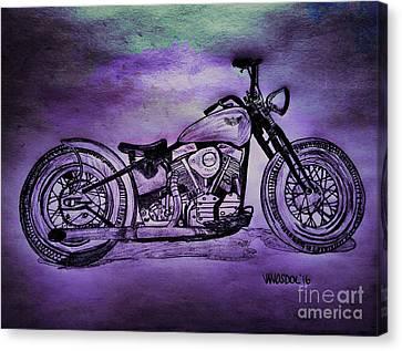 1950 Harley Davidson Panhead Motorcycle - Purple Moon Canvas Print by Scott D Van Osdol