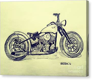 1950 Harley Davidson Panhead Motorcycle - Vintage Canvas Print by Scott D Van Osdol