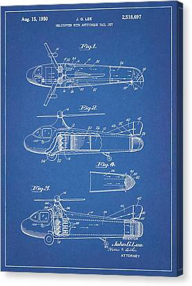 1950 Helicopter Patent Blueprint Canvas Print
