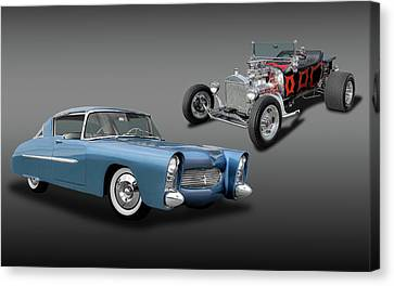 1950 Ultra Modern Merc And A 1923 T-bucket Roadster  -  1950merc1923tbucket6086 Canvas Print by Frank J Benz