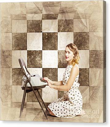 1950s Fictional Pinup Writer Canvas Print by Jorgo Photography - Wall Art Gallery