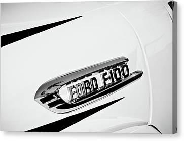 1950's Ford F-100 Fordomatic Pickup Truck Emblem -0129bw Canvas Print by Jill Reger
