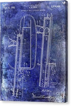 1951 Baseball Pitching Machine Patent Blue Canvas Print by Jon Neidert