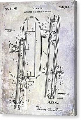 1951 Baseball Pitching Machine Patent Canvas Print by Jon Neidert