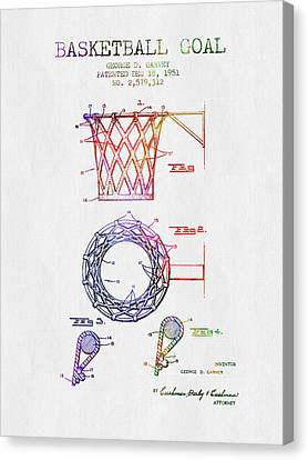 1951 Basketball Goal Patent - Color Canvas Print by Aged Pixel