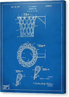 1951 Basketball Net Patent Artwork - Blueprint Canvas Print by Nikki Marie Smith