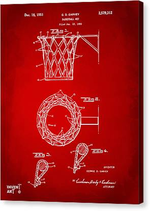 1951 Basketball Net Patent Artwork - Red Canvas Print by Nikki Marie Smith