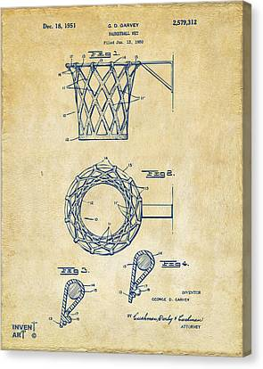 1951 Basketball Net Patent Artwork - Vintage Canvas Print by Nikki Marie Smith