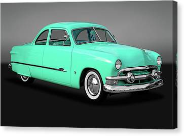 1951 Ford Custom Business Coupe  -  1951fordshoeboxcustomgry170652 Canvas Print by Frank J Benz