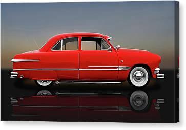 1951 Ford Tudor Sedan  -  1951fordtudorrflct9445 Canvas Print by Frank J Benz