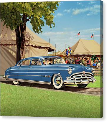 1951 Hudson Hornet - Square Format - Antique Car Auto - Nostalgic Rural Country Scene Painting Canvas Print by Walt Curlee
