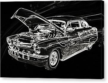 1951 Mercury Classic Car Drawing 050.02 Canvas Print by M K  Miller