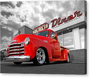 1952 Chevrolet Truck At The Diner Canvas Print by Gill Billington