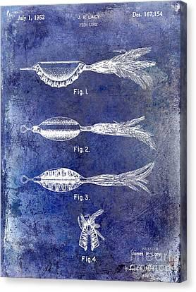 1952 Fishing Lure Patent Blue Canvas Print by Jon Neidert