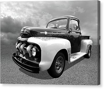 1952 Ford F-1 In Black And White Canvas Print by Gill Billington