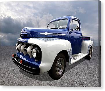 1952 Ford F-1 In Blue And White Canvas Print by Gill Billington