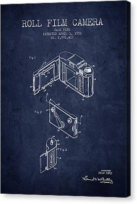 1952 Roll Film Camera Patent - Navy Blue - Nb Canvas Print by Aged Pixel