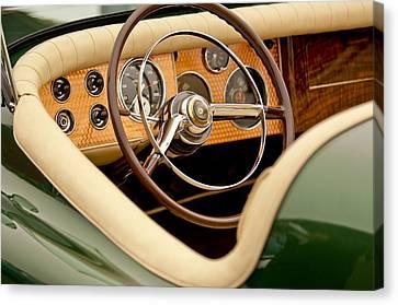 Maverick Canvas Print - 1952 Sterling Gladwin Maverick Sportster Steering Wheel by Jill Reger