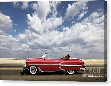 1953 Chevy Bel Air Convertible, Mixed Media, Louis Vuitton Steamer Trunk  Canvas Print by Thomas Pollart