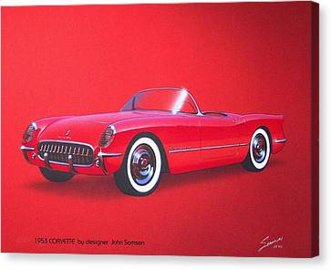 Virgil Canvas Print - 1953 Corvette Classic Vintage Sports Car Automotive Art by John Samsen