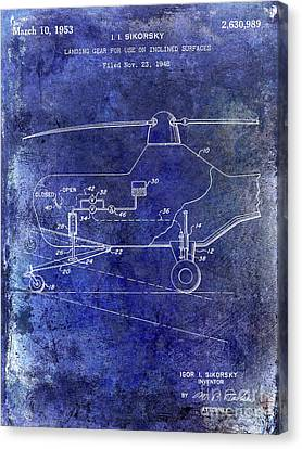 1953 Helicopter Patent Blue Canvas Print by Jon Neidert