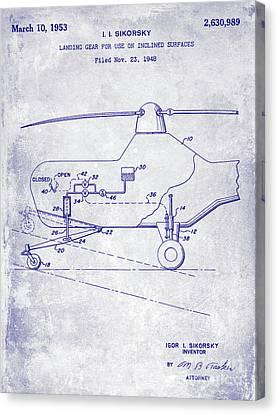 1953 Helicopter Patent Blueprint Canvas Print by Jon Neidert