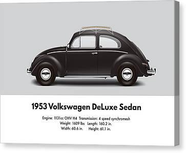 1953 Volkswagen Sedan - Black Canvas Print