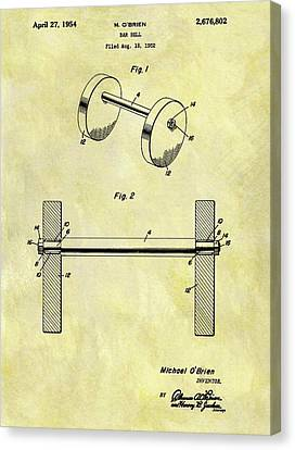 1954 Barbell Patent Canvas Print by Dan Sproul