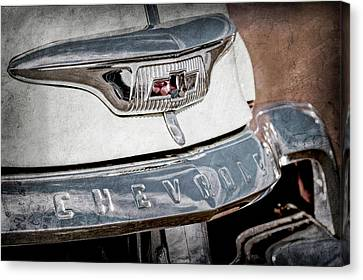 Chevrolet Pickup Truck Canvas Print - 1954 Chevrolet Panel Truck Grille Emblem -1301ac by Jill Reger