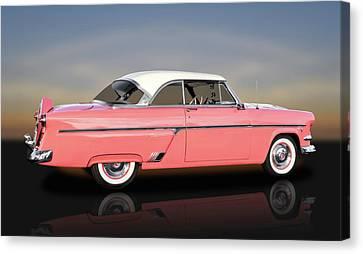 1954 Ford Victoria Crestline V8  -  1954fdvicreflect9358 Canvas Print by Frank J Benz