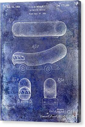 1954 Weiner Mobile Patent Blue Canvas Print by Jon Neidert