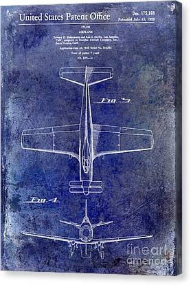 1955  Airplane Patent Drawing 2 Blue Canvas Print