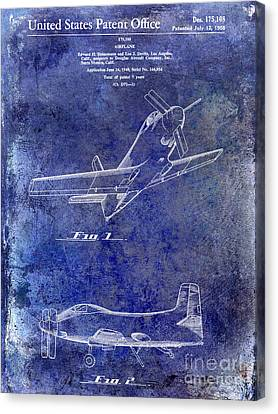 1955  Airplane Patent Drawing Blue Canvas Print