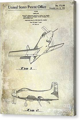 1955  Airplane Patent Drawing Canvas Print