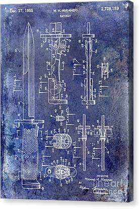 1955 Bayonet Patent Blue Canvas Print by Jon Neidert