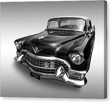 Canvas Print featuring the photograph 1955 Cadillac Black And White by Gill Billington
