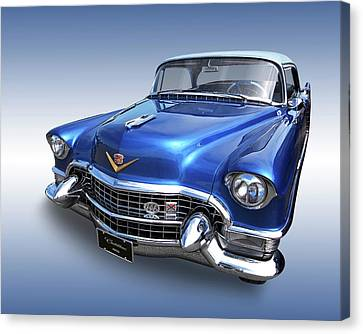 Canvas Print featuring the photograph 1955 Cadillac Blue by Gill Billington