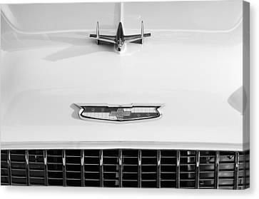 White Chevy Canvas Print - 1955 Chevrolet Bel Air Hood Ornament - Emblem -0066bw by Jill Reger