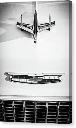 White Chevy Canvas Print - 1955 Chevrolet Bel Air Hood Ornament - Emblem -0067bw by Jill Reger