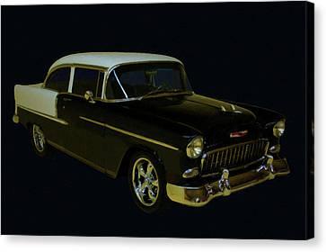 1955 Chevy Bel Air Black Digital Oil Canvas Print