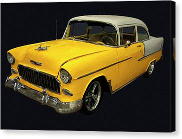 1955 Chevy Bel Air Yellow Digital Oil Canvas Print