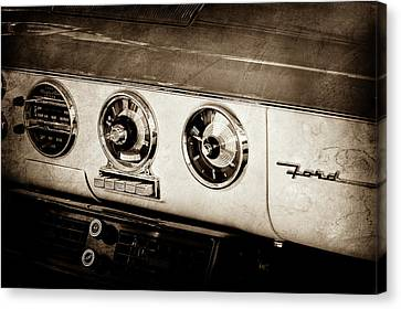 Canvas Print featuring the photograph 1955 Ford Fairlane Dashboard Emblem -0444s by Jill Reger